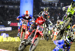 Justin Brayton charges through the whoops at Anaheim in 2020