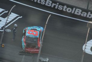 Bubba Wallace crashes out of 2020 NASCAR All-Star Open after racing Michael McDowell for position at Bristol Motor Speedway.