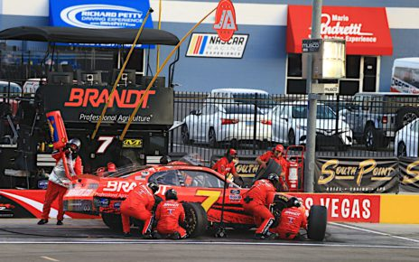 Justin Allgaier gets service on pit road during the 2020 Alsco 300 at Las Vegas Motor Speedway. Photo courtesy of Jim Fluharty with Harold Hinson Photography.
