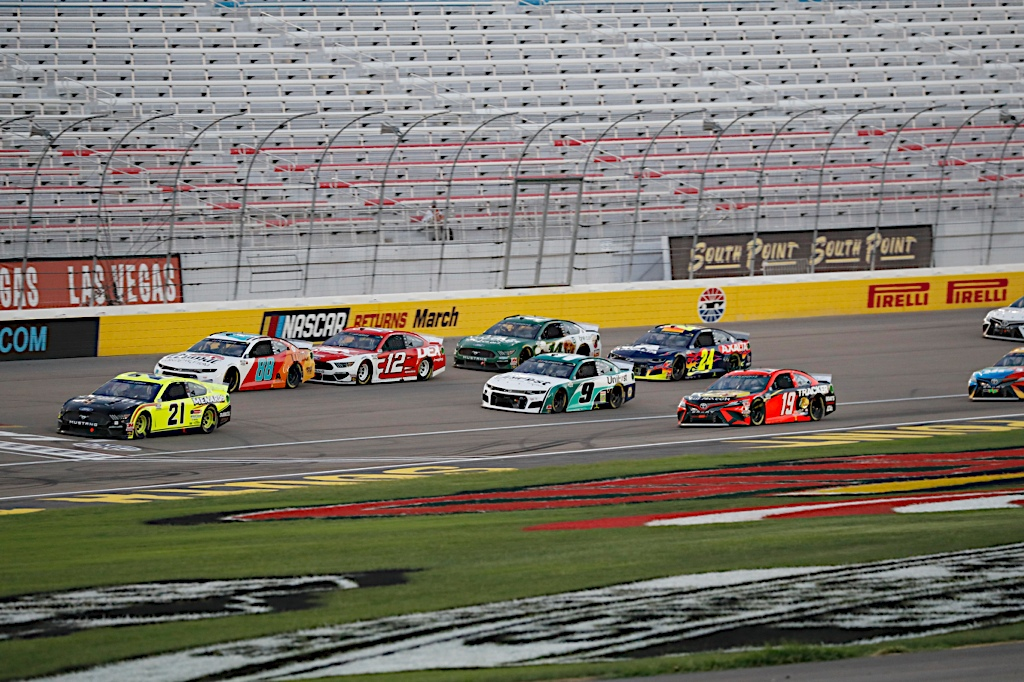 Matt DiBenedetto led eight laps in Sunday's South Point 400, but finished second again at Las Vegas Motor Speedway. Photo courtesy of Harold Hinson Photography.