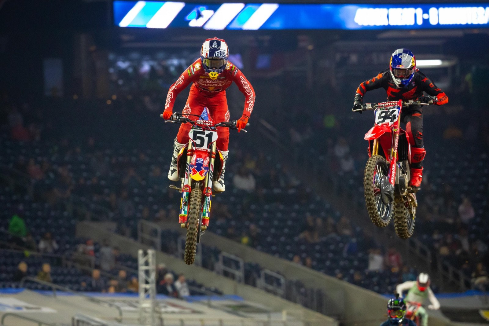 Ken Roczen (#94) battled closely with Justin Barcia (#51) in the 2021 opener at Houston, with Barcia claiming the victory. Photo courtesy of Feld Entertainment, Inc.