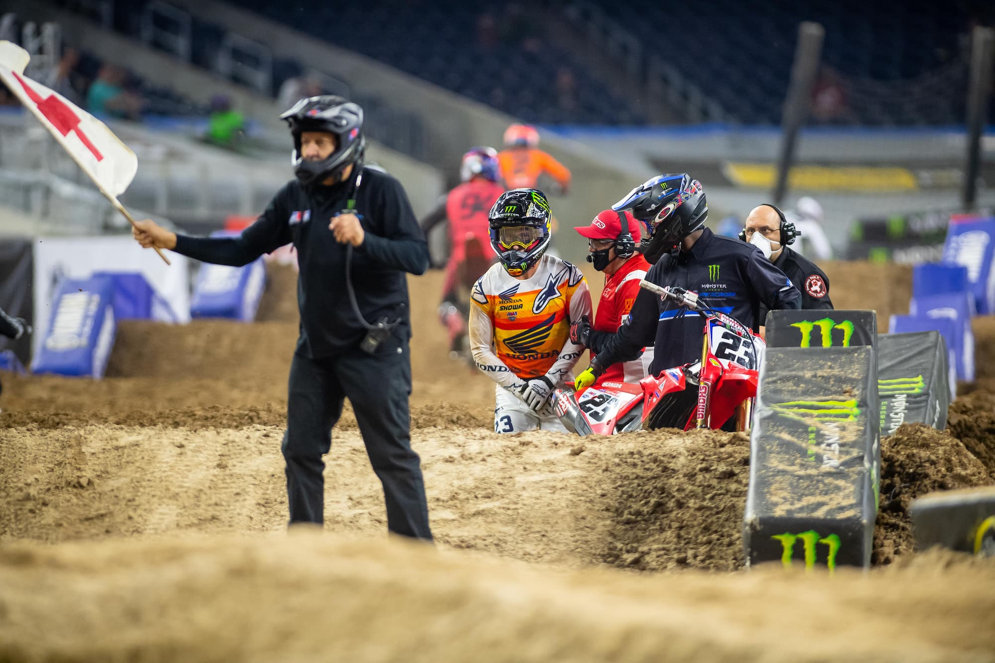 Chase Sexton crashes hard in the 2021 Houston 2 450SX race. He currently plans to compete in Saturday's Houston 3 round.