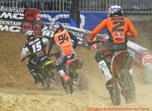Ken Roczen tries to hold off Cooper Webb while looking for a way around lapped rider Dean Wilson. Photo courtesy of Jerry Jordan / Kickin' the Tires.