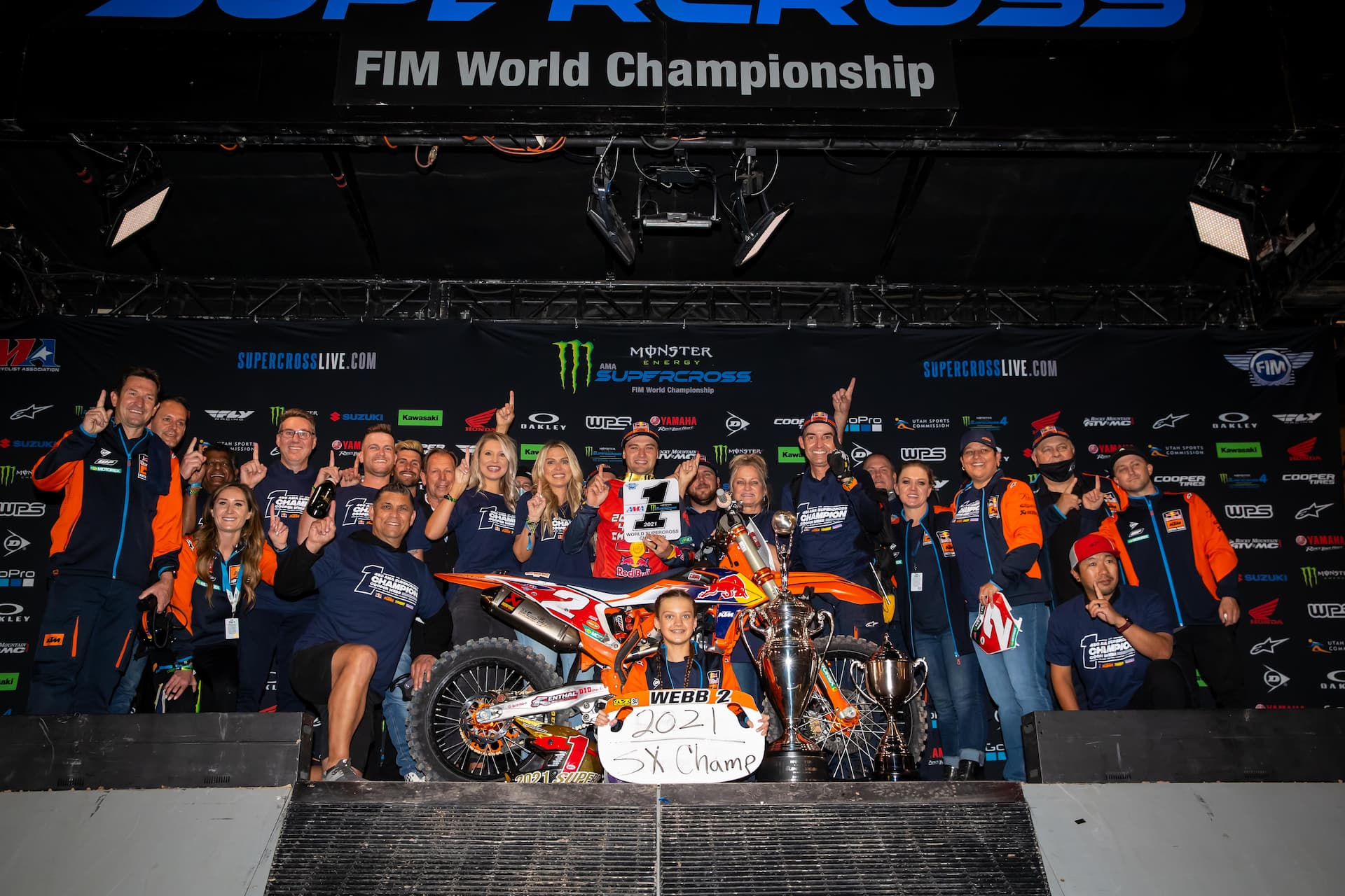 Cooper Webb celebrates with his KTM team on his second Monster Energy AMA 450 Supercross championship. Photo by Feld Entertainment, Inc.