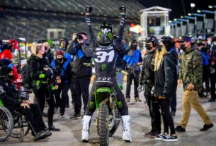Cameron Mcadoo celebrates after his victory at the prestigious Daytona Supercross course. Photo by Feld Entertainment, Inc.