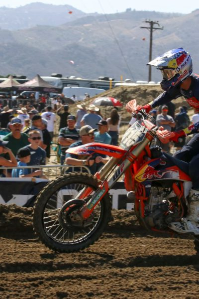 Max Vohland races in front of the fans at Fox Raceway in Pala, CA for his Lucas Oil Pro Motocross Championship 250 debut. Photo by Rachel Schuoler / Kickin' the Tires.