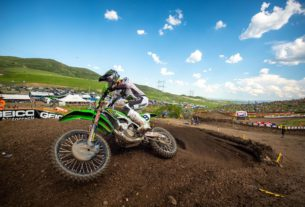 Adam Cianciarulo races at Thunder Valley Motorsports Park to a third overall finish in the 2021 Lucas Oil Pro Motocross Championship season. Photo by Align Media.