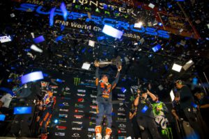 Cooper Webb raised the Monster Energy AMA Supercross Championship trophy for the first time in 2019. Photo by Feld Entertainment, Inc.