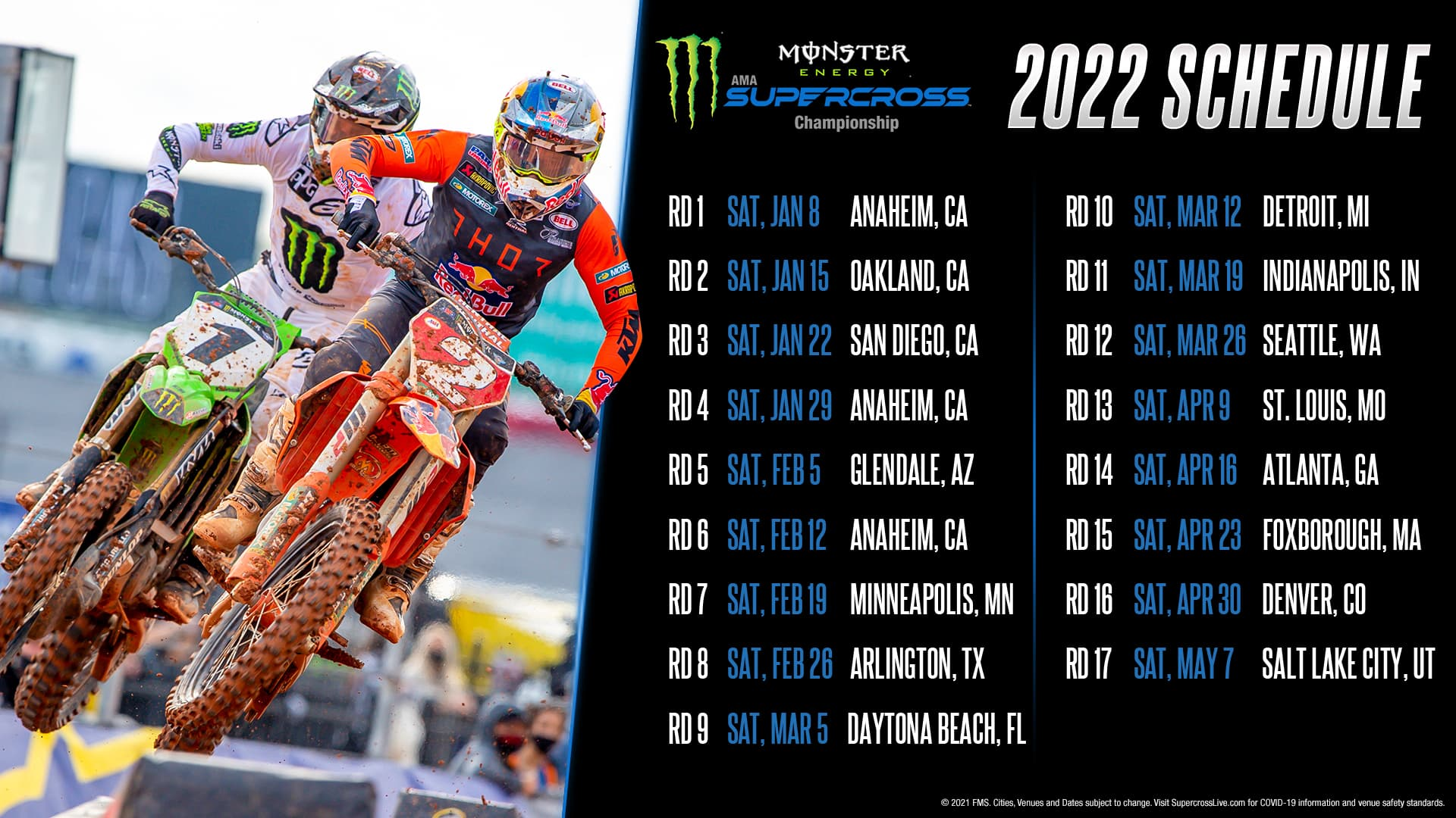The 2022 Monster Energy AMA Supercross Championship schedule has been released.