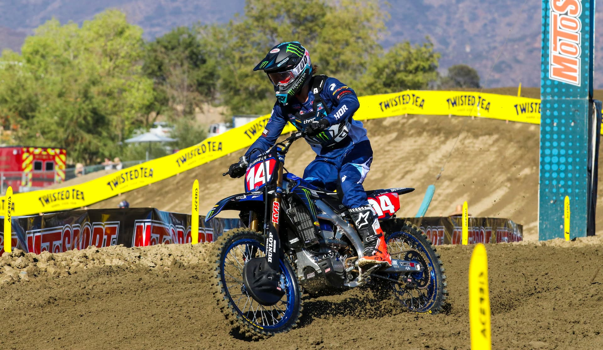 Dylan Ferrandis steals the fastest qualifying time on his last timed lap at Fox Raceway II in the 2021 Pro Motocross season. Photo by Rachel Schuoler / Kickin' the Tires