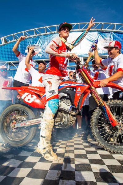 Jett Lawrence wins the 2021 Lucas Oil Pro Motocross Championship for the 250 Class after the season finale at the Carson City Motorsports Hangtown Motocross Classic. Photo by Align Media.