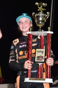 Katie Hettinger becomes the youngest winner at Hickory Motor Speedway.