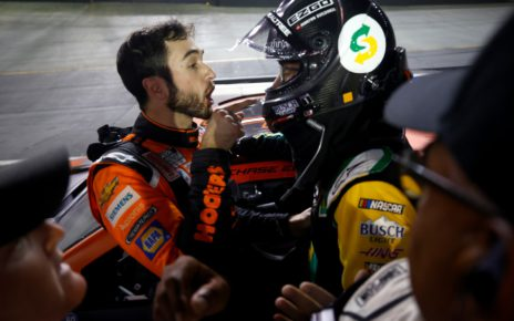 Credit: BRISTOL, TENNESSEE - SEPTEMBER 18: Chase Elliott, driver of the #9 Hooters Chevrolet,(L) and Kevin Harvick, driver of the #4 Subway Delivery Ford, have a heated conversation after an incident late in the NASCAR Cup Series Bass Pro Shops Night Race at Bristol Motor Speedway on September 18, 2021 in Bristol, Tennessee. (Photo by Jared C. Tilton/Getty Images)
