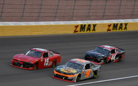 Tommy Joe Martins races at Las Vegas Motor Speedway in the 2021 Alsco Uniforms 302 in the NASCAR Xfinity Series. Photo by Nigel Kinrade Photography.