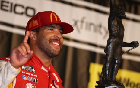Credit: TALLADEGA, ALABAMA - OCTOBER 04: Bubba Wallace, driver of the #23 McDonald's Toyota, celebrates in victory lane after winning the rain-shortened NASCAR Cup Series YellaWood 500 at Talladega Superspeedway on October 04, 2021 in Talladega, Alabama. (Photo by Chris Graythen/Getty Images)